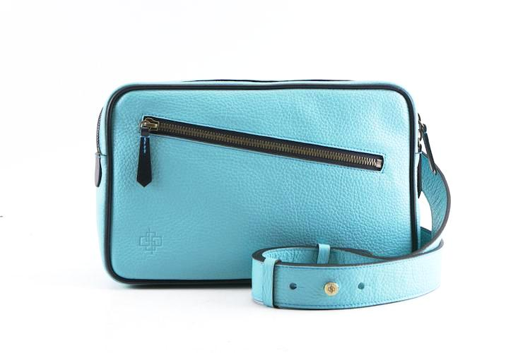 Garcon blue cross body bag in Italian pebble grain leather