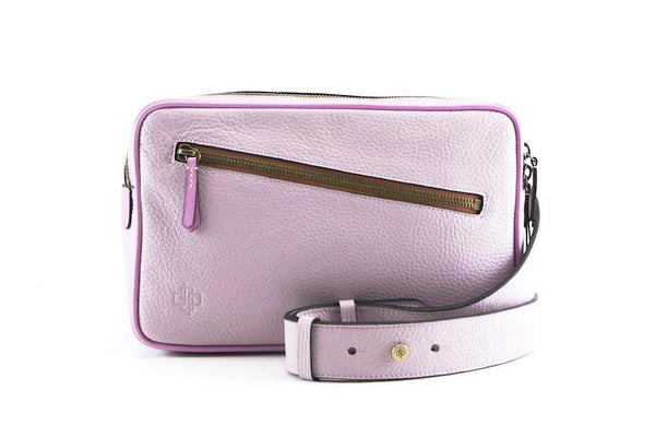 Garcon pink cross body bag in Italian pebble grain leather