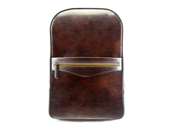 Halcyon leather backpack hand painted patina in chocolate