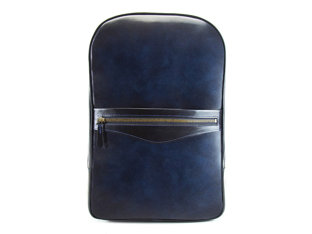 Halcyon leather backpack, hand painted patina navy blue