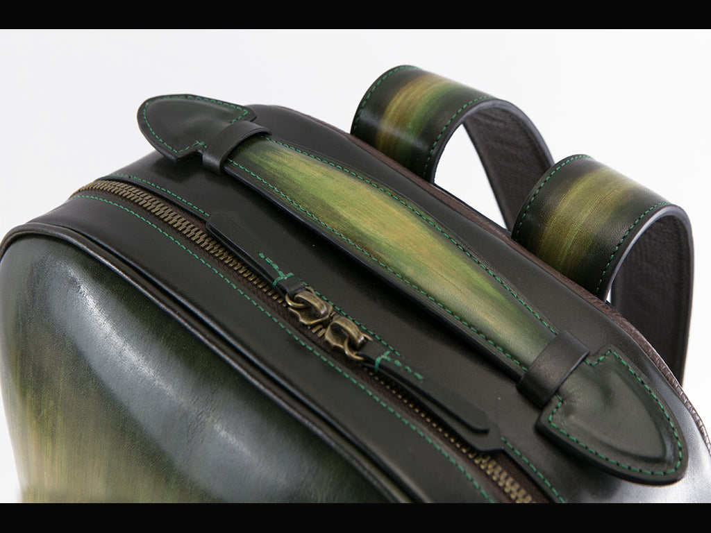 Halcyon leather backpack in hand painted green patina