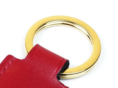 Hanoi key ring with red patina leather fob & gold ring