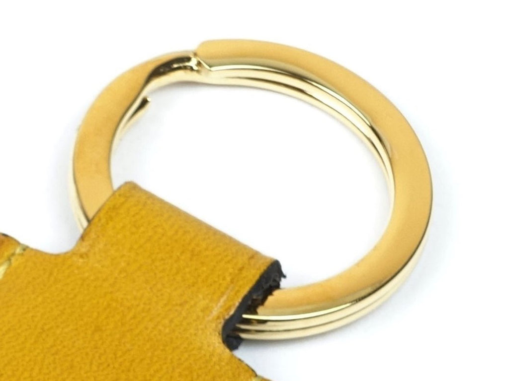 Hanoi key ring - yellow patina leather fob & gold ring