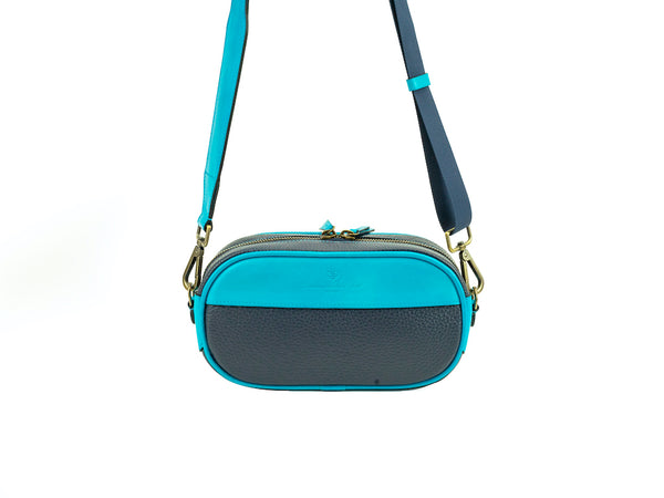 Harley Italian leather handbag black and turquoise