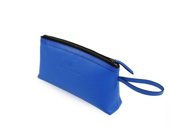 Huong pebble grain Italy leather cosmetics bag in blue colour