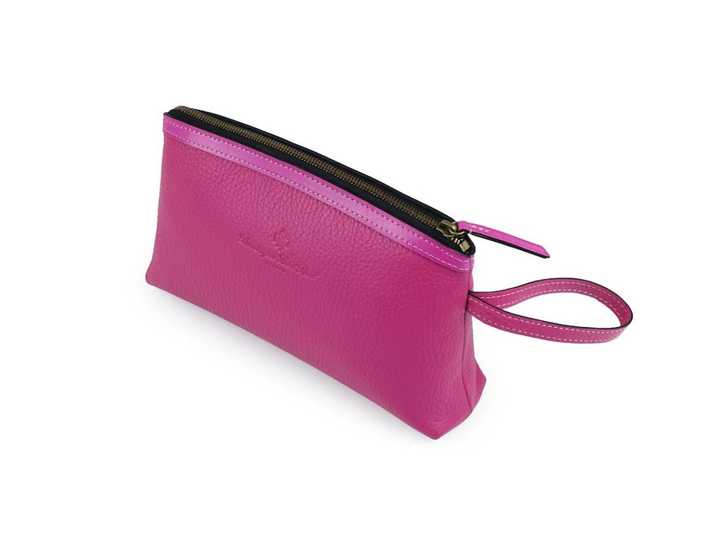 Huong fuxia pink Italian pebble grain leather cosmetics bag