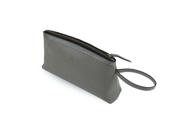 Huong Italian pebble grain leather cosmetics bag in grey colour by Dominique Saint PaulHuong Italian pebble grain leather cosmetics bag in grey colour
