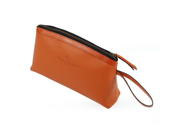 Huong orange Italian pebble grain leather cosmetics bag