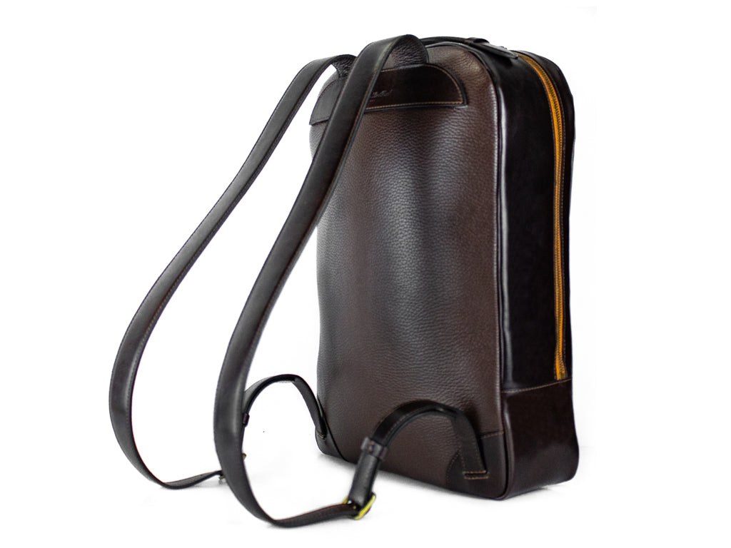 Halcyon leather backpack, hand painted patina in tan and dark brown