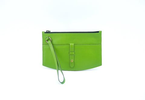 Juliette clutch bag in vivid green natural grain leather