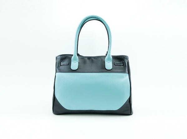 Lara leather weekend bag in turquoise and black