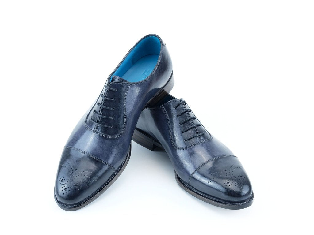 LAUBAT OXFORD SHOES IN CIELO GRIGIO PATINA
