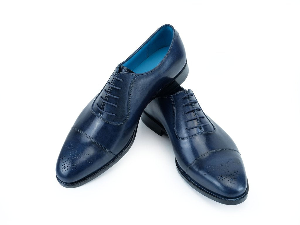 LAUBAT HAND COLOURED SHOES - MIDNIGHT BLUE PATINA - MADE TO ORDER