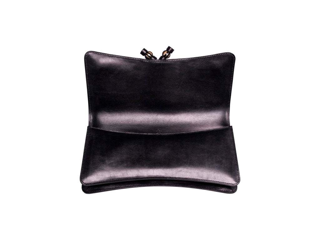Léa clutch bag hand painted patina leather in black