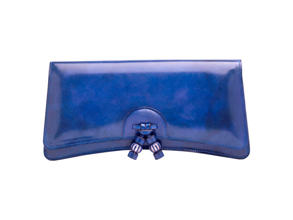 Click to zoom Léa leather clutch bag hand painted patina in denim blue e32117d44d
