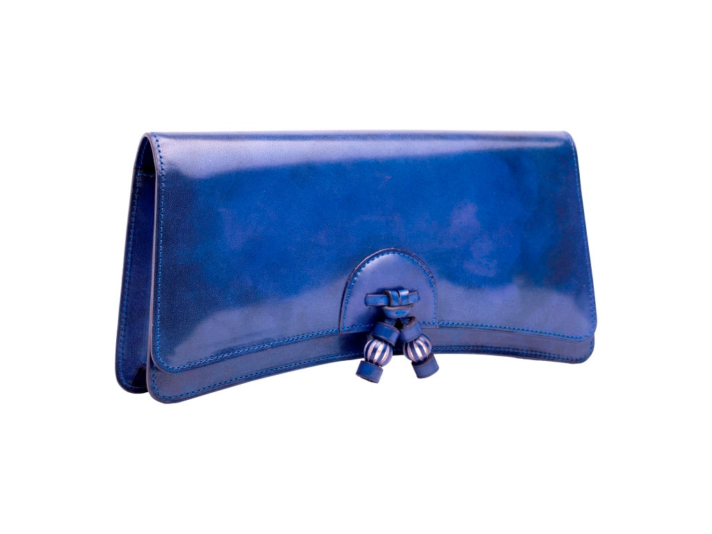Léa leather clutch bag hand painted patina in denim blue