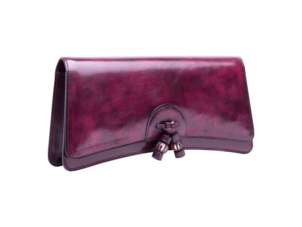 Léa leather clutch bag hand painted patina in Burgundy