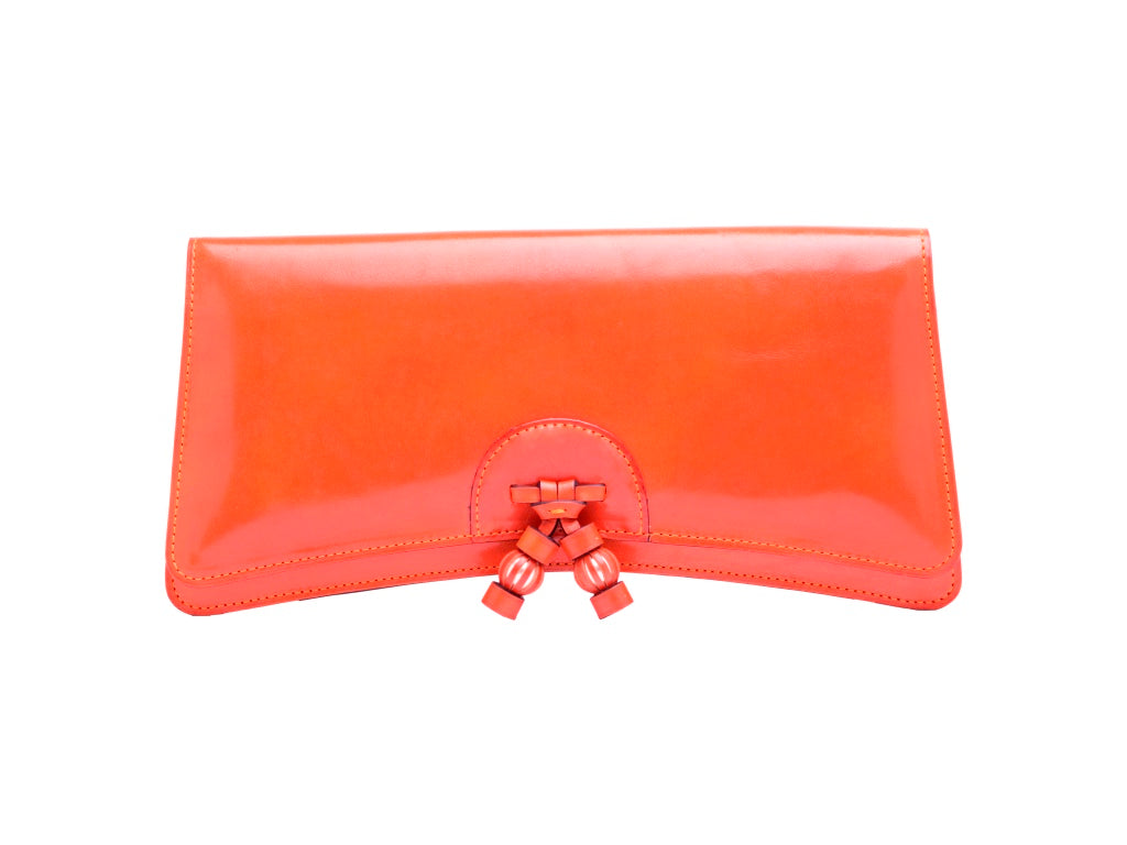 Léa leather clutch bag hand painted patina in orange
