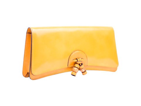 Léa clutch bag hand painted patina leather in sunflower yellow