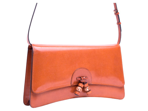 Linh leather handbag in hand painted London tan patina