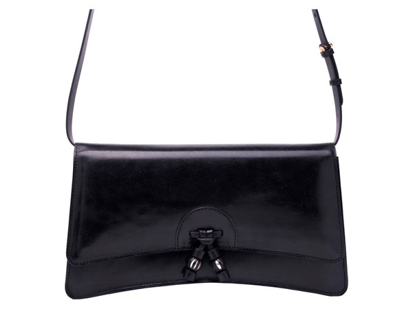 Linh leather handbag in hand painted black patina