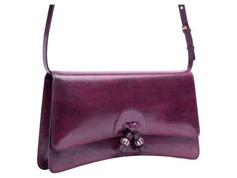 Linh leather handbag in hand painted purple patina