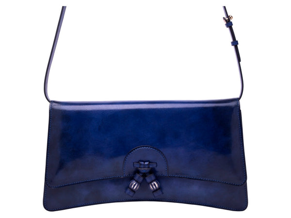 Linh leather handbag in hand painted royal blue patina