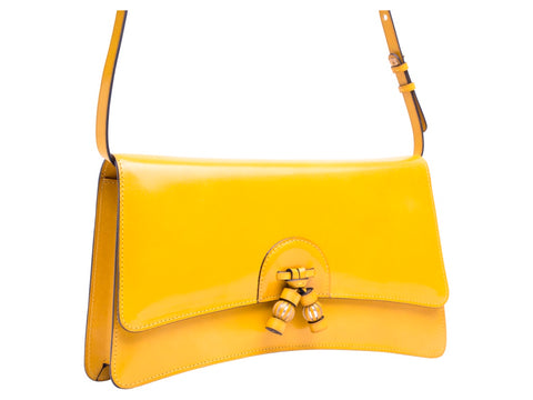 Linh leather handbag in hand painted sunflower yellow patina
