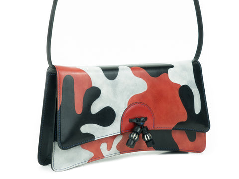 Linh handbag hand painted leather, Japanese koi carp design