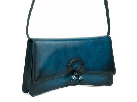 Linh handbag hand painted blue patina