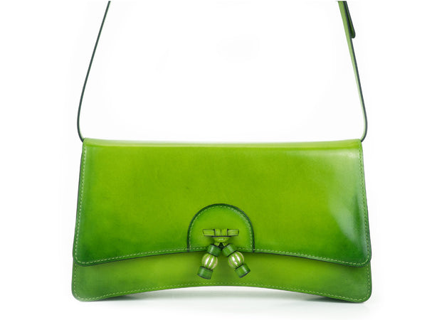 Linh handbag hand painted leather green patina