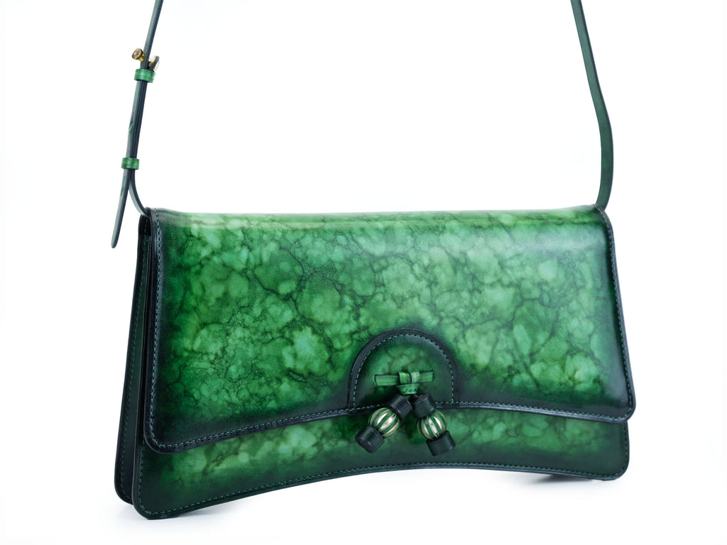Linh handbag hand painted in green marble patina leather