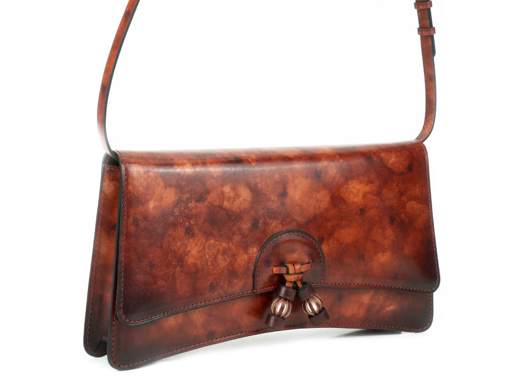 Linh handbag hand painted leather burgundy mottled patina
