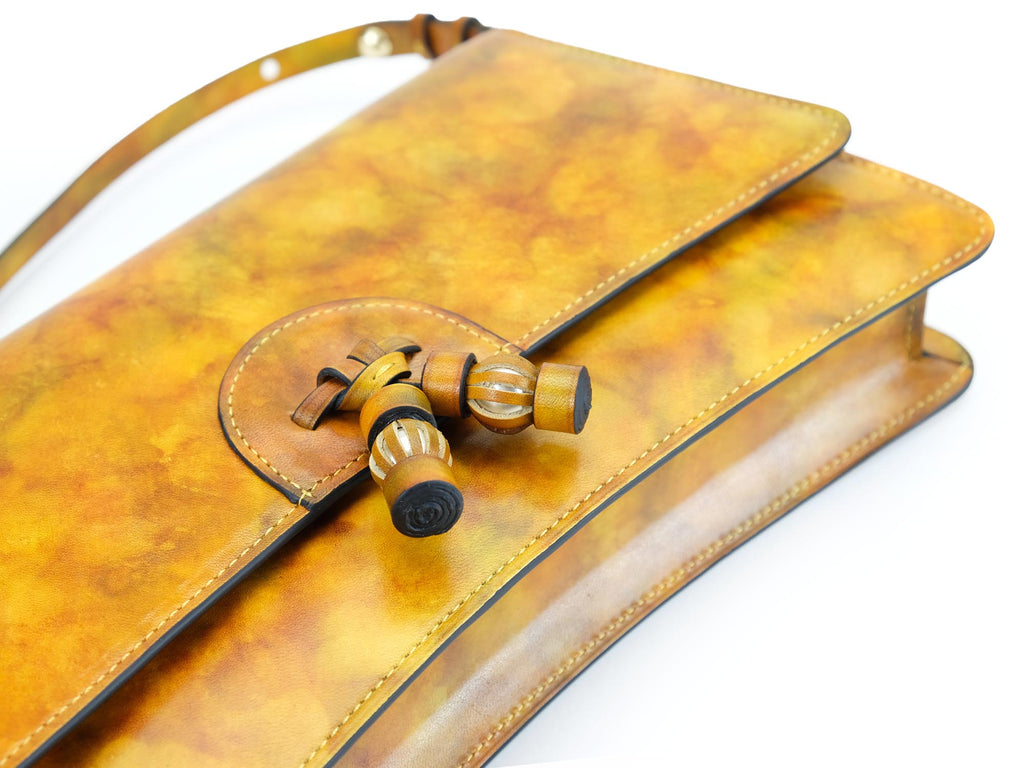 Linh handbag hand painted in yellow marble patina leather