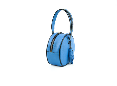 Luna handbag in pebble grain leather coco blue