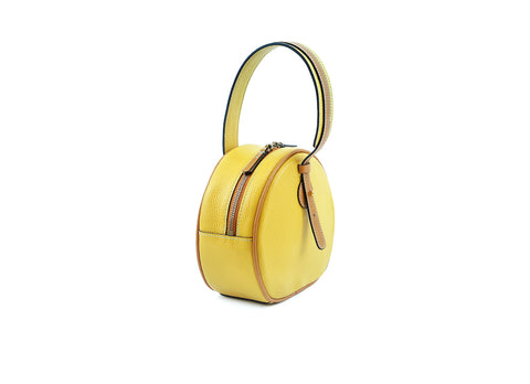 Luna handbag in pebble grain leather yellow and tan