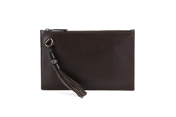 Milo clutch bag smooth grain leather in testa di Moro