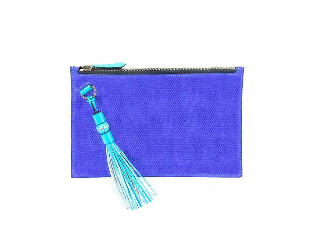 Milo slimline leather clutch bag in custom made colors