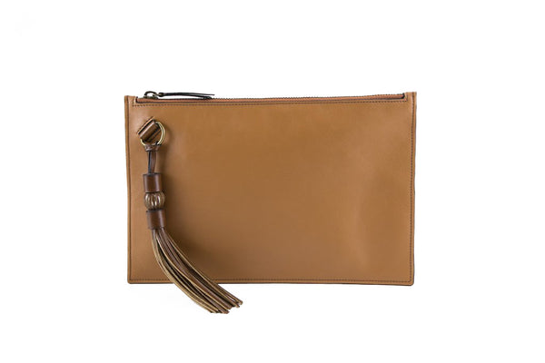 Milo clutch bag in medium tan natural grain leather