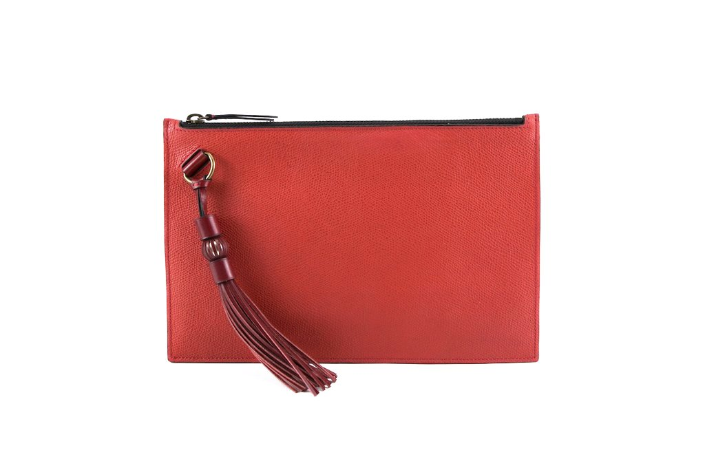 Milo leather clutch bag with hand painted patina in soft red