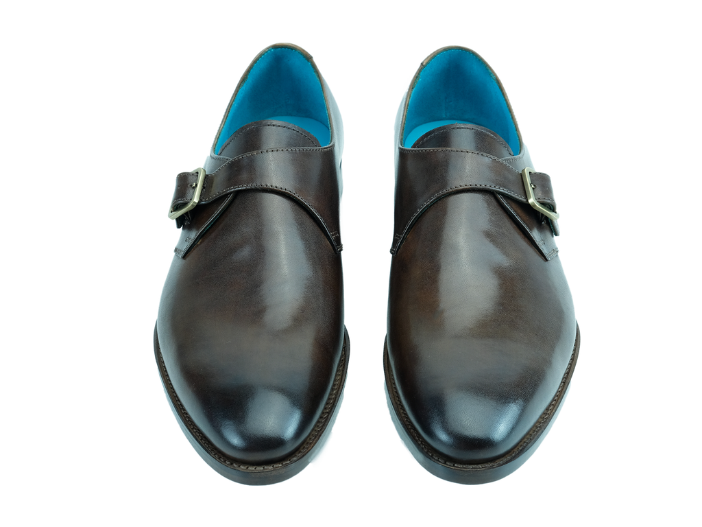 Minister single monk strap shoes handmade custom in chestnut brown hand colored patina saigon