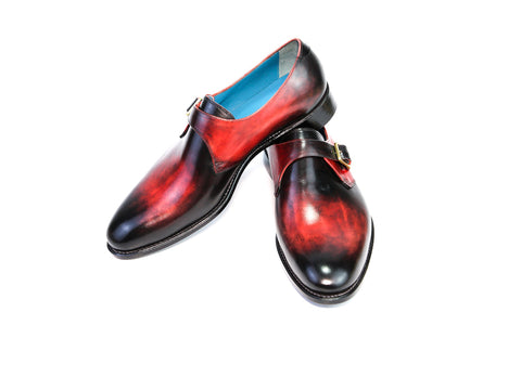 41 EE MINISTER MONK SHOES BLACK & RED PATINA - READY TO WEAR