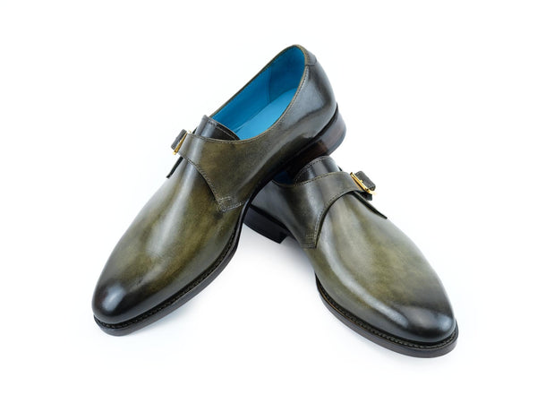 Minister single monk hand painted shoes in moorland green patina hand made by Dominique Saint Paul Saigon