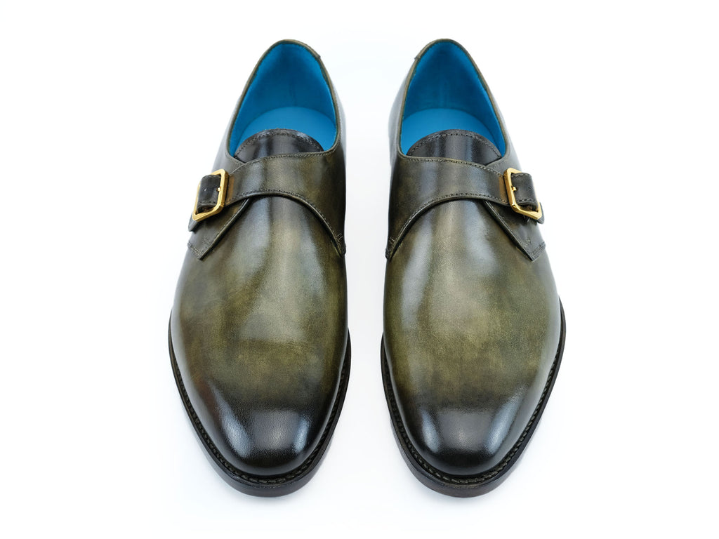 Minister single monk shoes in moorland green patina handmade by Dominique Saint Paul Saigon