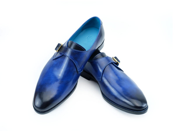 Minister single monk shoes in cobalt blue hand colored patina handmade by Dominique Saint Paul Saigon