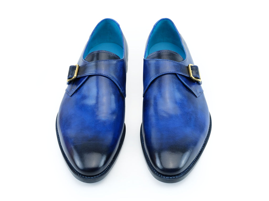 Minister single monk shoes in cobalt blue hand colored patina hand made by Dominique Saint Paul Saigon