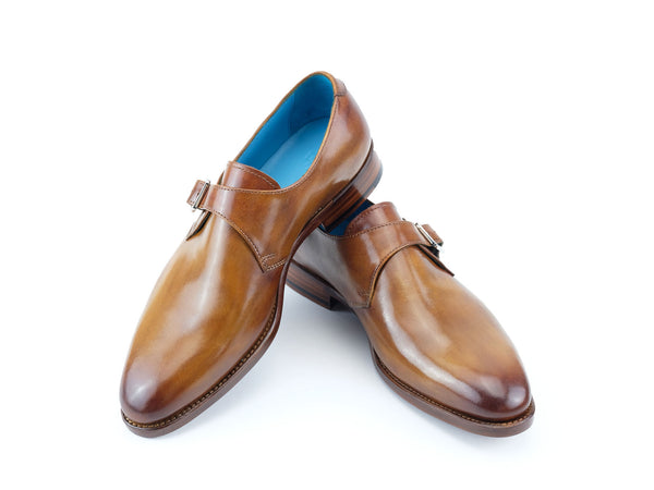 Minister single monk leather handmade shoes custom made in tan patina by Dominique Saint Paul Saigon