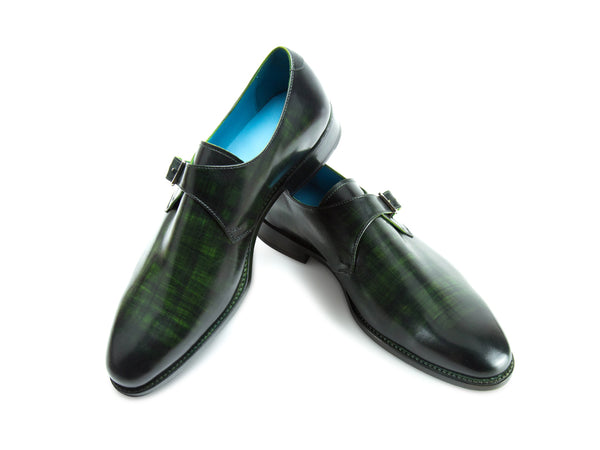 Minister single monk shoes in green striped patina