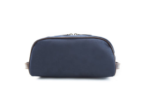 Montagnard canvas and leather day bag in blue