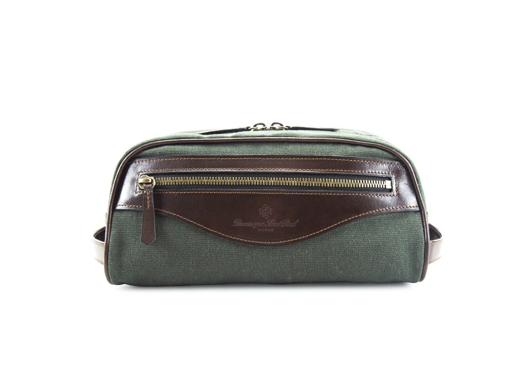 Montagnard canvas and leather day bag in dark green